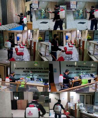 Rapid Antigen, Penyemprotan desinfektan bagi warga yang terpapar Covid19 di Kecamatan Larangan
