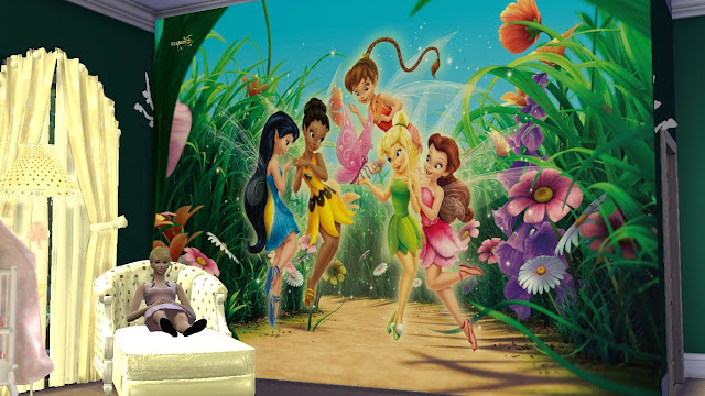 sims 4 tinker bell wall sticker,decal and mural download