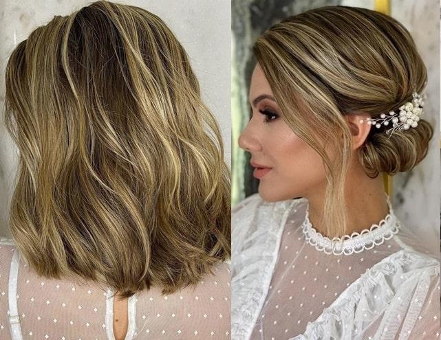 penteado de festa para cabelo curto coque lateral