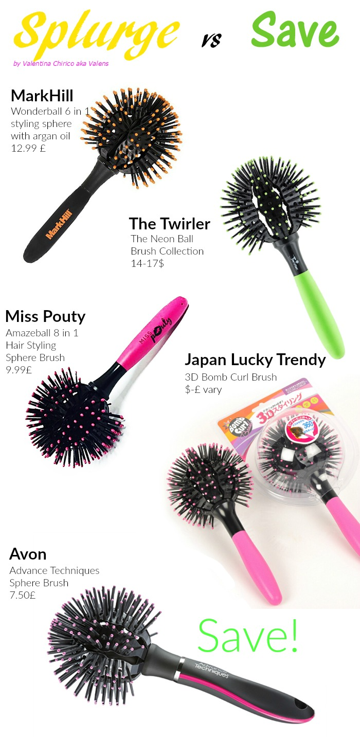 Splurge vs Save, sphere brushes, Markhill, Avon, The Twirler, Japan Lucky Trendy 3D Bomb Curl Brush, save