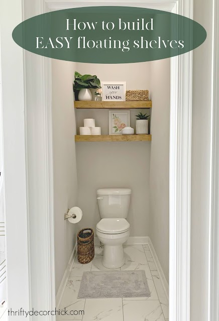 water closet toilet with floating shelves