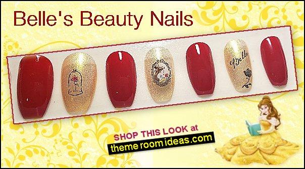 Belle princess nails beauty and the beast nail design princess nails disney princess nail decorating