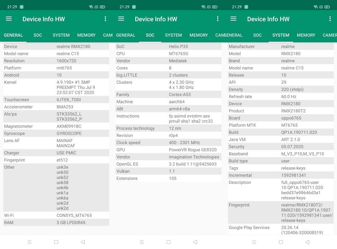 Device Info HW Realme C15