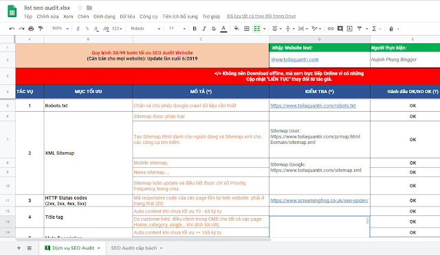 Checklist SEO Audit by Toilaquantri.com 2019