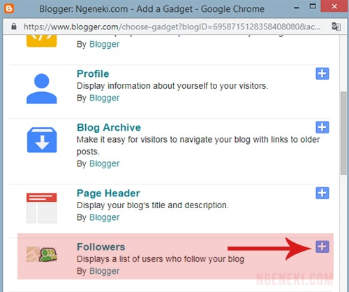 Widget followers di blogger