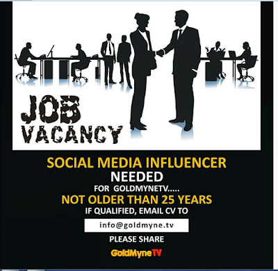 Job Vacancy: Social Media Influencer Needed Urgently...Check It Out