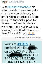 Salman Khan transfers money directly to daily wage workers account, screenshot goes viral, Salman Khan, Manoj Sharma, Covid19, coronavirus.