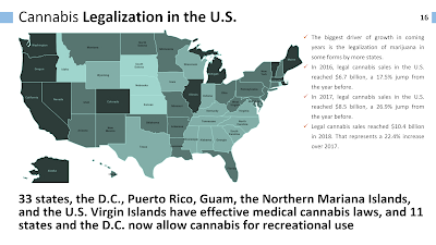 Map of USA depicting legal status of recreation & medicinal cannabis by state or territory