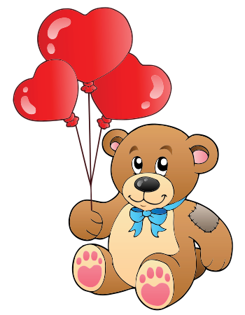 Teddy with Heart Balloons