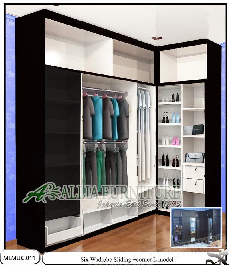 Lemari pakaian minimalis silding sudut six