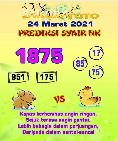 Syair HK Rabu 24 Maret 2021 -