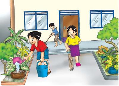 kerjasama gotong royong membersihkan lingkungan rumah www.simplenews.me
