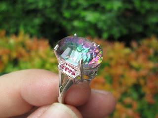 Permata Mystic Rainbow Quartz Indah Ikatan Perak QTZ006