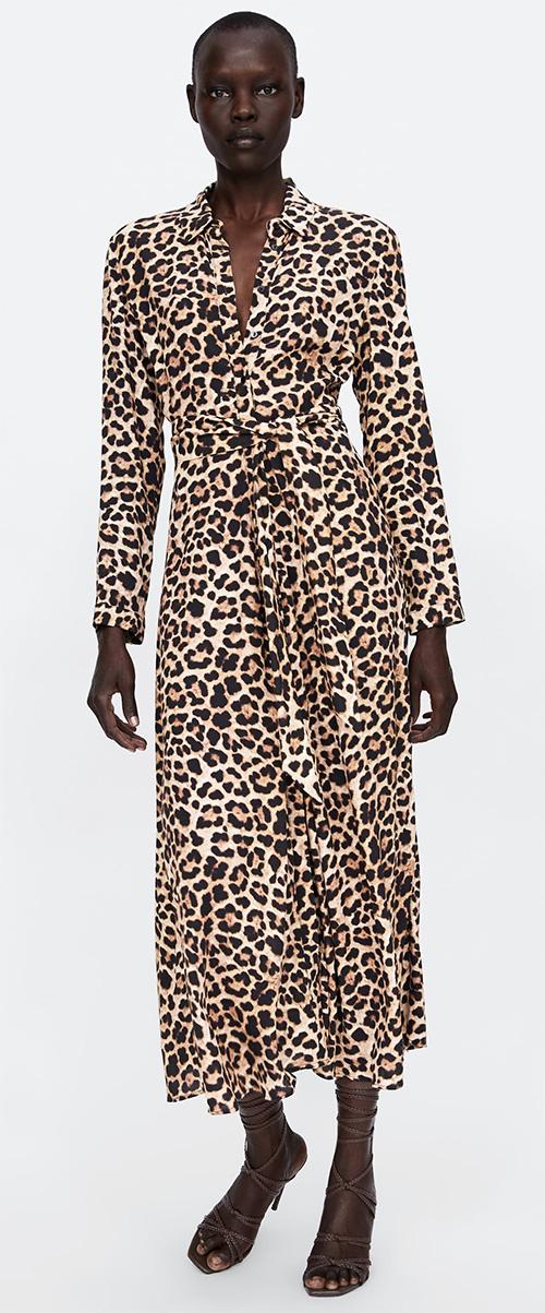 Robe longue imprimé léopard Zara