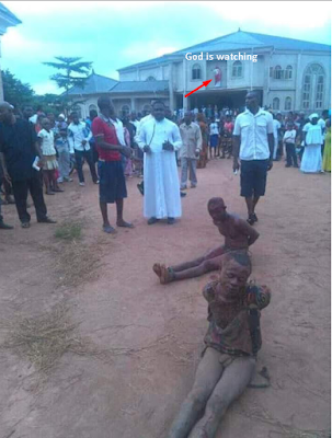 Thieves mobbed by Priests and worshipers inside church - You need to see these pictures
