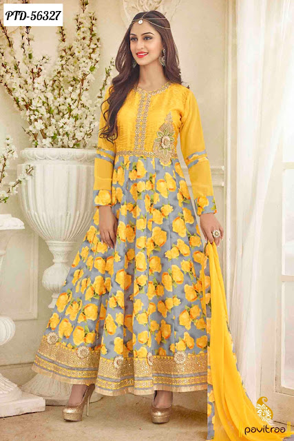 Actress Jivika yellow color bhagalpuri anarkali salwar suit in best discount offer sale