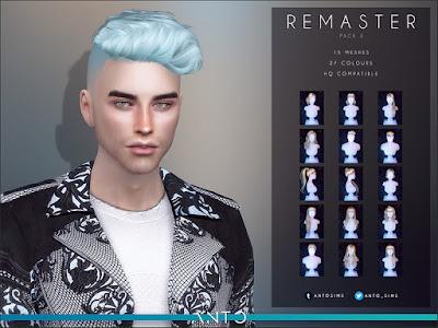 Anto - Remaster Pack 3 Анто - Ремастер, пакет 3 (Прически) для The Sims 4 Третий набор восстановленных волос. Переделан пакет с нуля, исправлены категории, переделаны волосы так, чтобы все они выглядели так же, как нынешние волосы. Включает 15 причесок. Автор: Anto