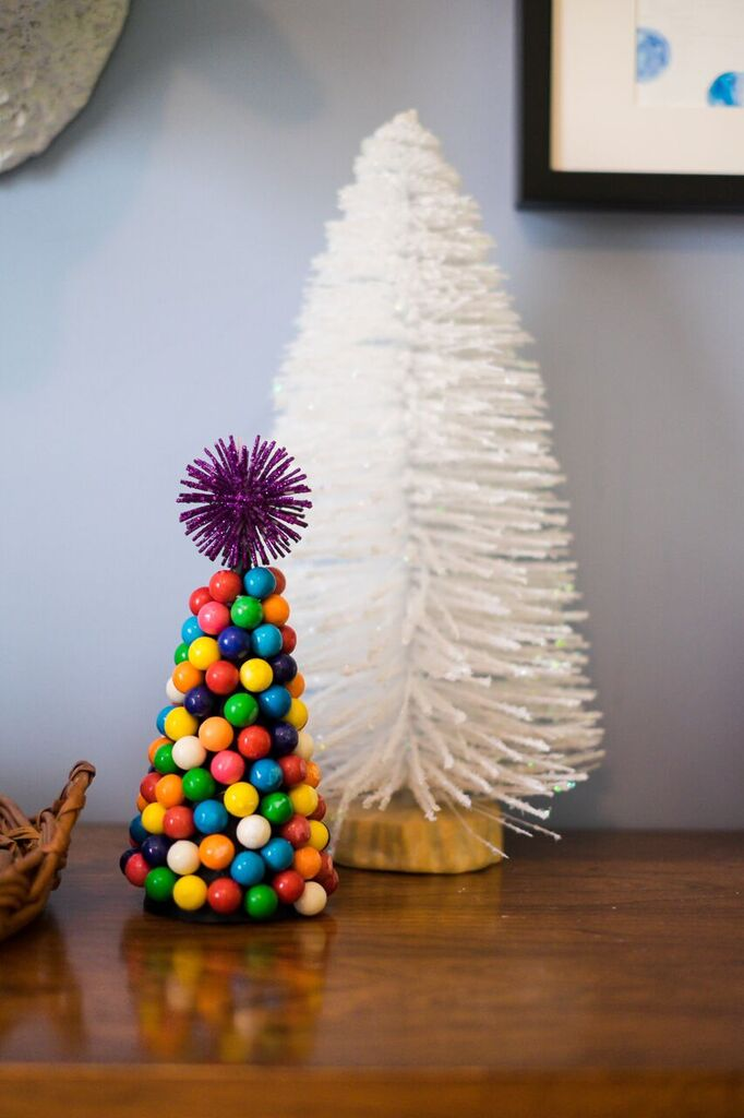 A diy alternative  Christmas tree made using gumballs