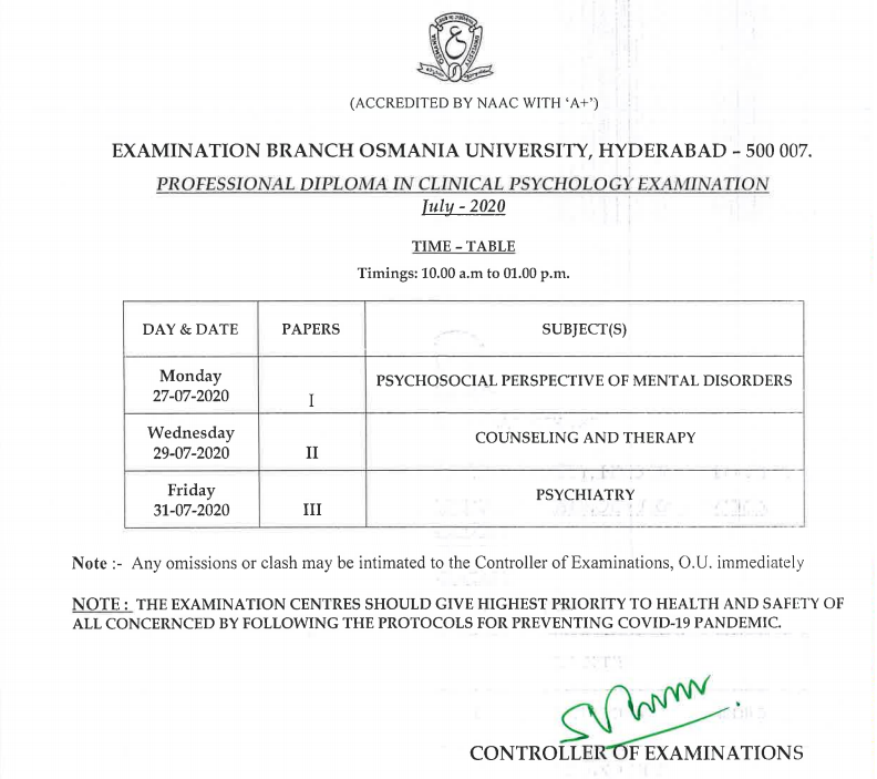 Osmania University Professional Diploma in Clinical Psychology July 2020 Exam Time Table