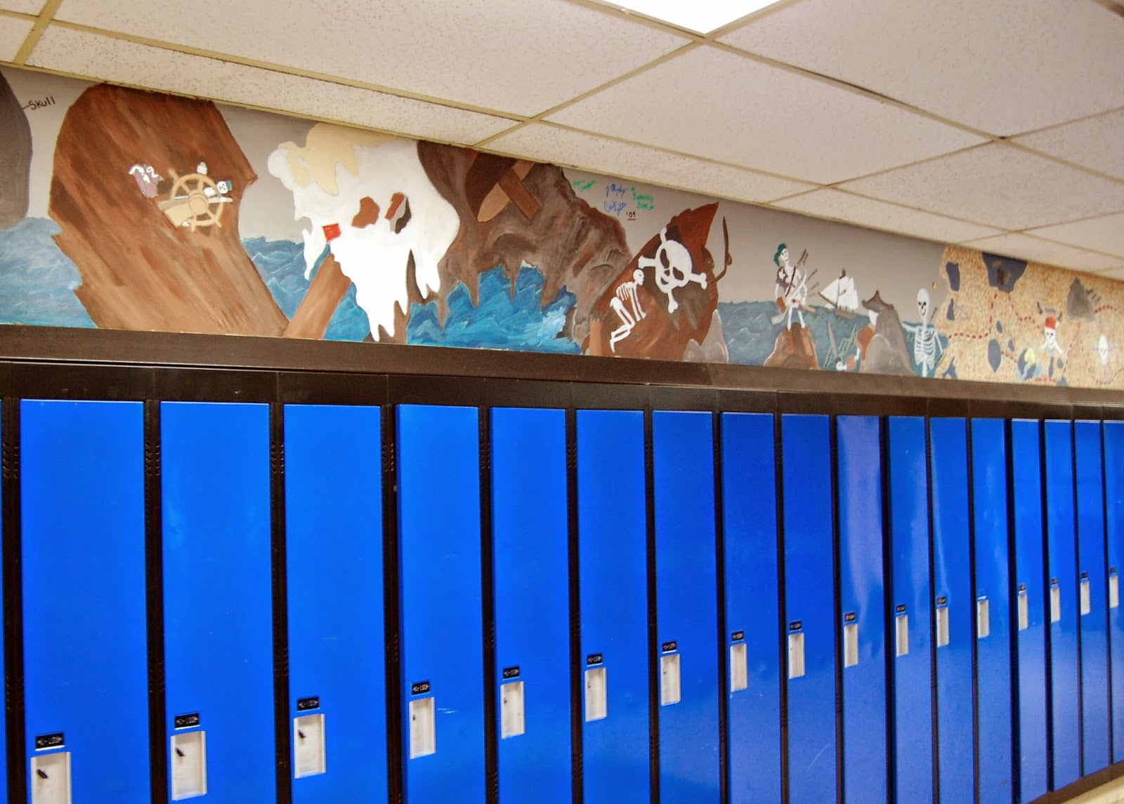 student art above the lockers