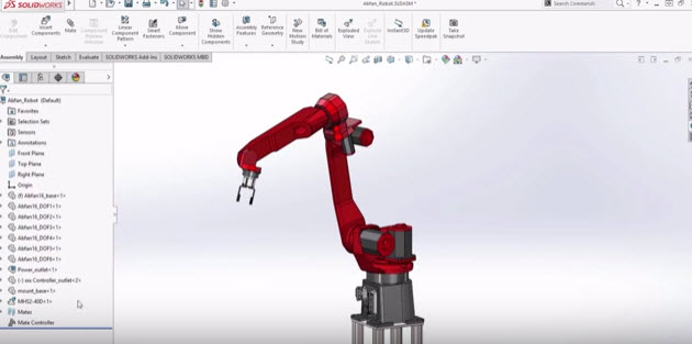 How to use Mate Controller in SOLIDWORKS 2016 | Robot arm design 3D