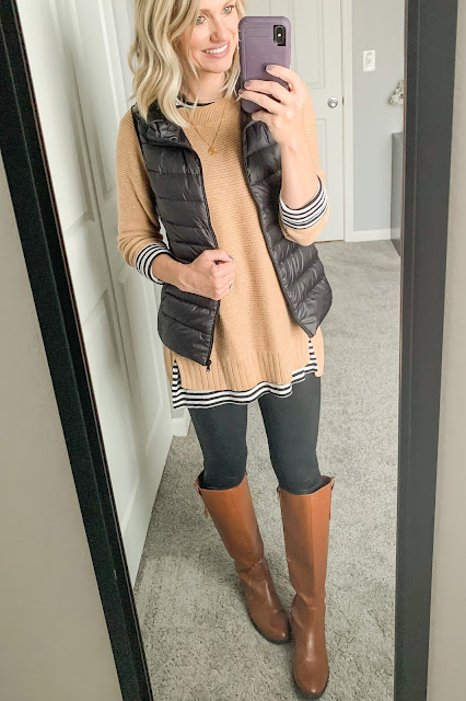 Sweater layered with vest