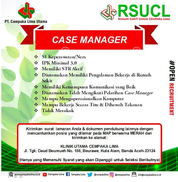 Lowongan Kerja Sebagai Case Manager RSU Cempaka Lima Aceh Tahun 2020