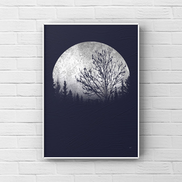 super Moon over forest, artwork, brick wall,