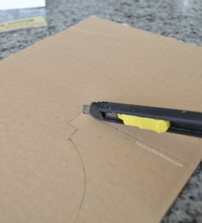 Cutting out cardboard template
