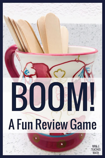 BOOM! is an easy and active review game that works well for any subject. This review game for middle or high school students is SO MUCH FUN! I play this in my classroom before test day. It could be used for math, science, social studies or any other subject!