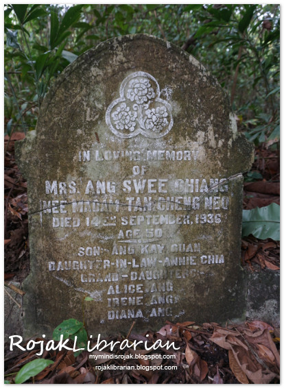 Mrs. Ang Swee Chiang nee Tan Cheng Neo tomb at Bukit Brown
