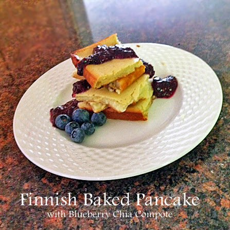 finnish baked pancakes with blueberry chia compote