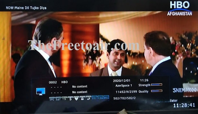 HBO Afghanistanstarted on ChinaSat 11 at 98.0°E