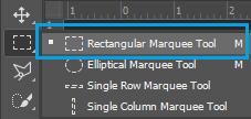 Penggunaan rectangular marquee tool untuk melakukan seleksi objek gambar di Photoshop