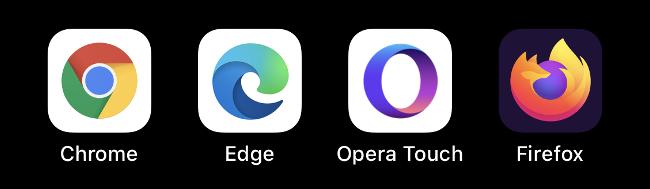 أيقونات Chrome و Edge و Opera Touch و Firefox.