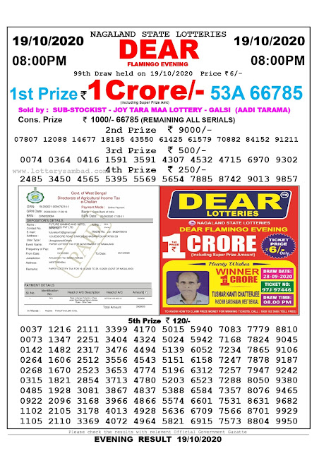 Lottery Sambad 19-10-2020, Lottery Sambad 8 pm results, Nagaland Lottery Results, Lottery Sambad Today Results Live, Night results