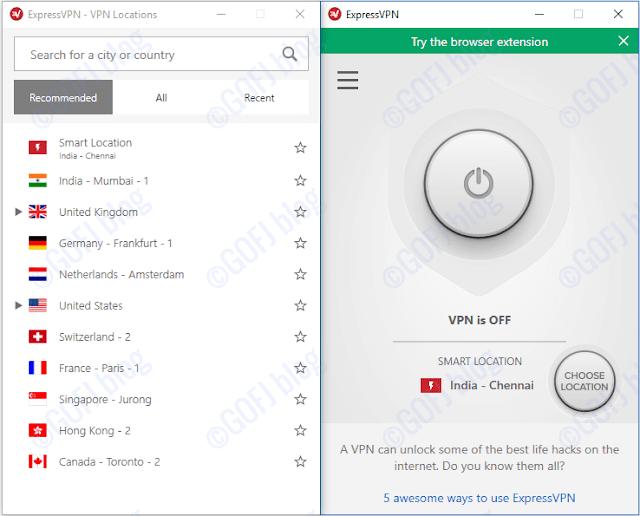 Choosing location on Express VPN