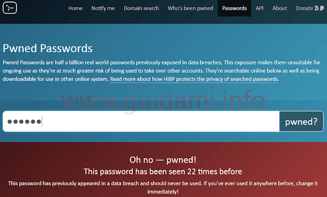 Sito web HaveIbeenPwned sezione verifica password violata
