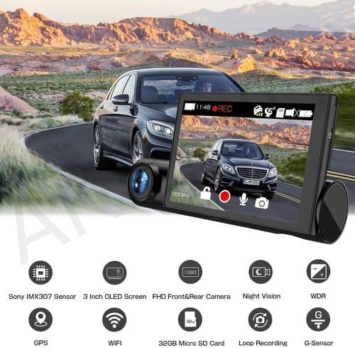 AKEEYO D7 OLED FHD Dual Lens Car Dash Cam