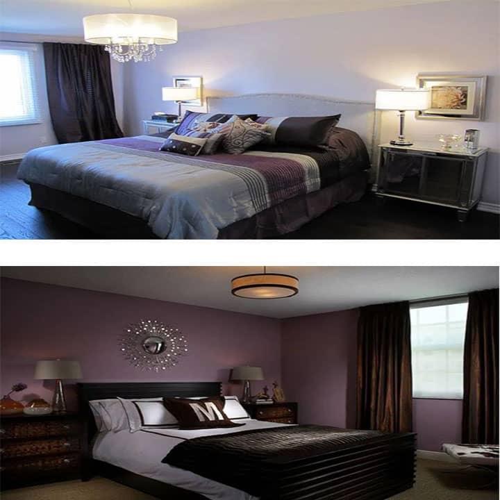 غرفة نوم باللون ليلك مع أسود
