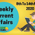Weekly Current Affairs 8th To 14th March 2020
