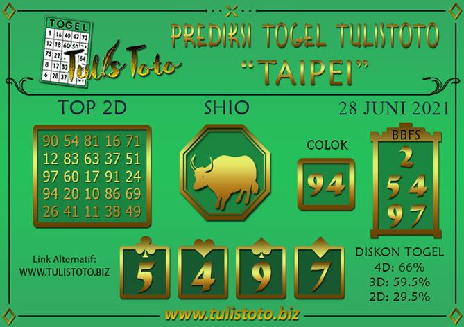Prediksi Togel TAIPEI TULISTOTO 28 JUNI 2021
