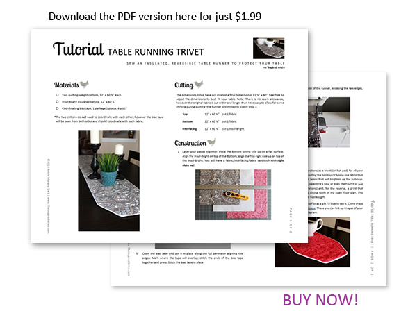 Download the printable directions today! | Table Running Trivet/Hot Pad | The Inspired Wren