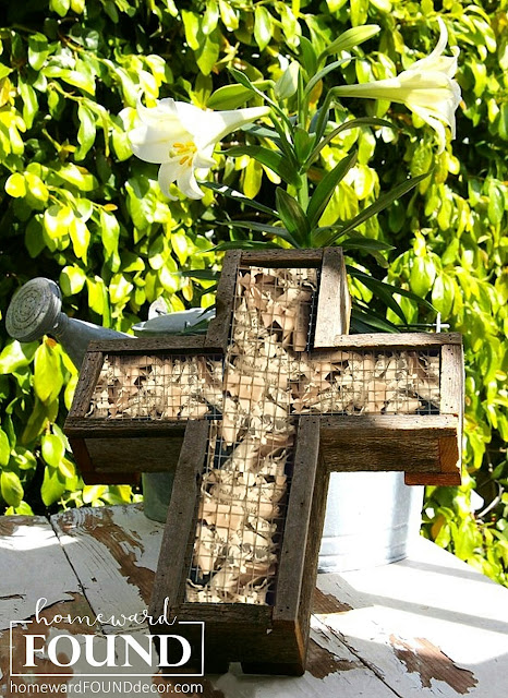 art, decorating, DIY, diy decorating, Easter, farmhouse style, garden art, junking, junk makeover, paper, paper crafts, re-purposing, rustic style, salvaged, rustic, spring, wall art, vintage paper, woodcrafts, wood cross decor, old wood, old books