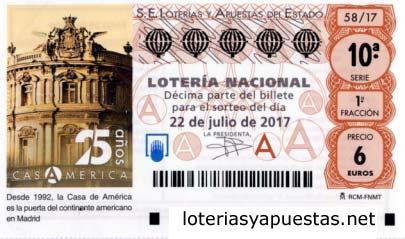 Sorteo loteria nacional del sabado 22 de julio