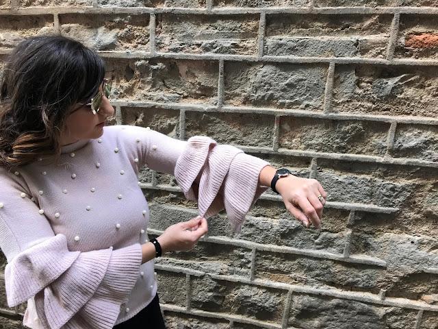 SHEIN Pearl Beaded Layered Ruffle Sleeve Jumper