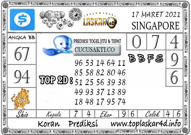 Prediksi Togel SINGAPORE LASKAR4D 17 MARET 2021