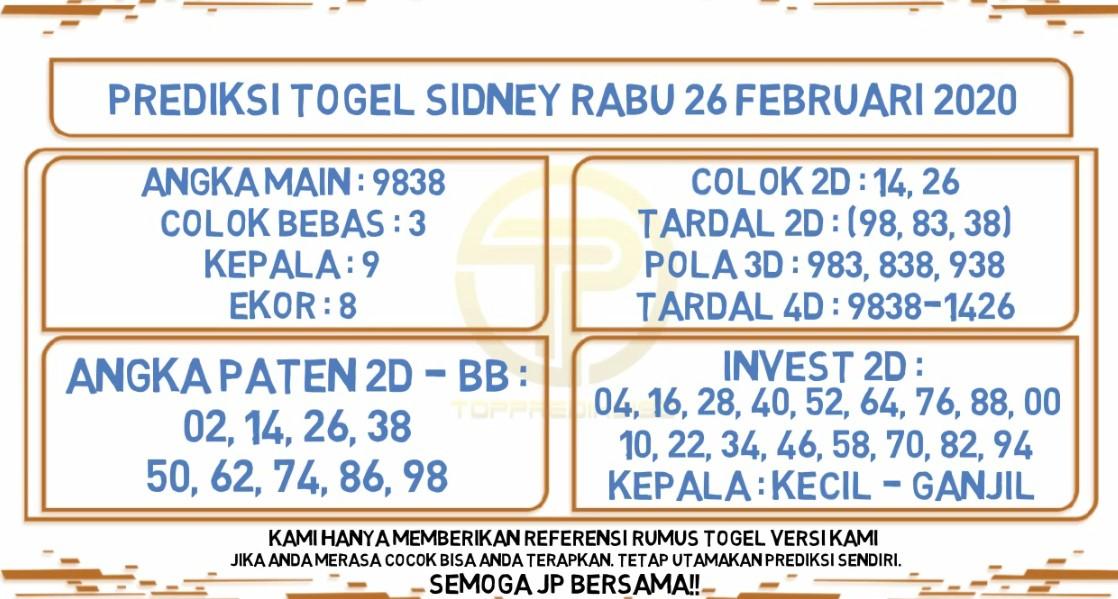 Prediksi Togel JP Sidney 26 Februari 2020 - Prediksi Togel JP