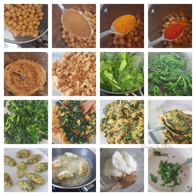 Koftas de garbanzos, comino y espinacas con salsa de tahini #lunessincarne