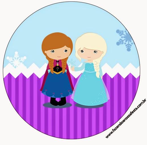 Toppers o etiquetas de Frozen Niñas en Navidad para imprimir gratis.